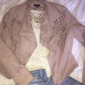Jackets & Blazers - Dusty Pink Fringed Jacket !